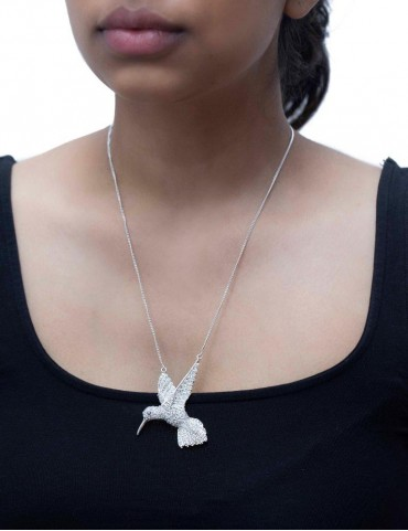 Sterling Silver Humming Bird Pendant Small