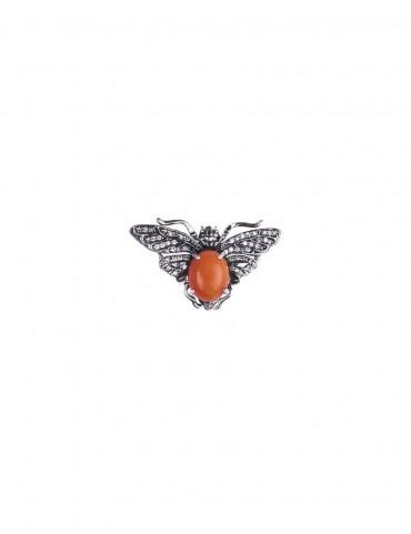 Sterling Silver Red Bee Brooch