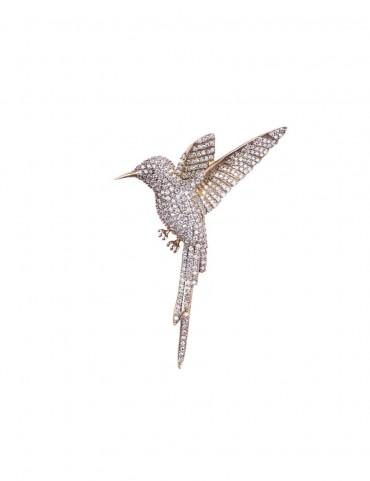 Sterling Silver Jeweled Hummingbird Brooch