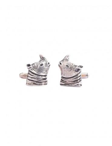 Sterling Silver Rhino Cufflinks
