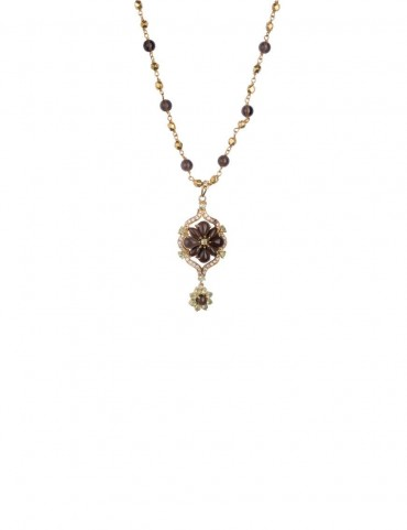 Sterling Silver Smoky Quartz and Peridot Necklace