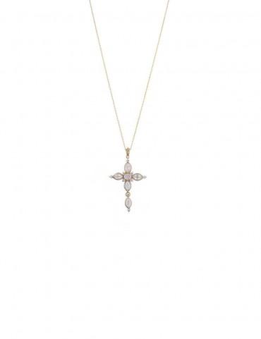 Sterling Silver Rose Quartz Cross Pendant
