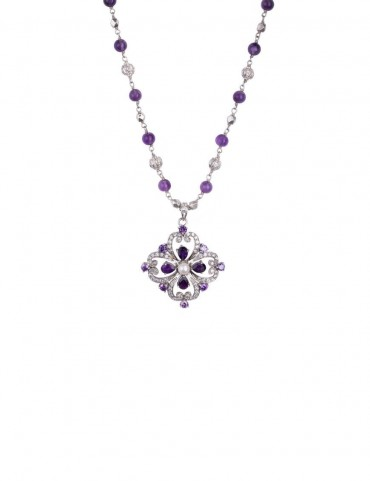 Sterling Silver Amethyst and Pearl Necklace