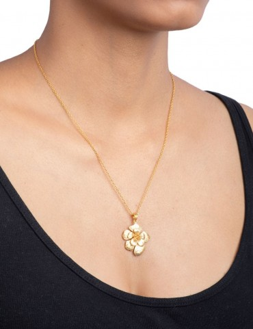 Sterling Silver Bohemian Rose Pearl Pendant Small