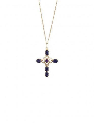 Sterling Silver Amethyst and Iolite Cross Pendant