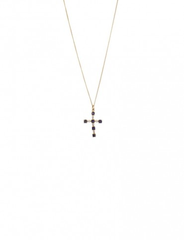 Sterling Silver Iolite Cross