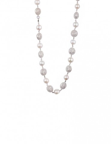 Sterling Silver Filigree Beads and Freshwater Pearls Necklace