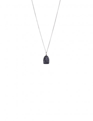 Sterling Silver Chain and Black Onyx Buddha