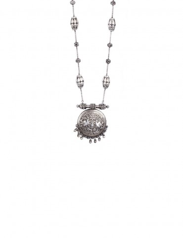 Sterling Silver Confronting Birds Tribal Necklace