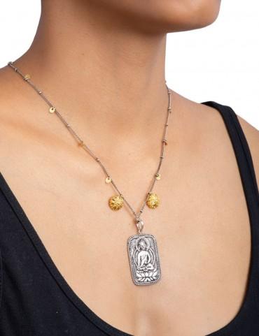 Sterling Silver Buddha Oxidised Pendant