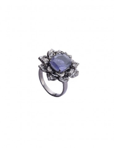 Sterling Silver Iolite Succulent Ring