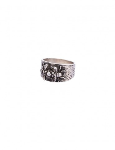Sterling Silver Textured Ring with Bee