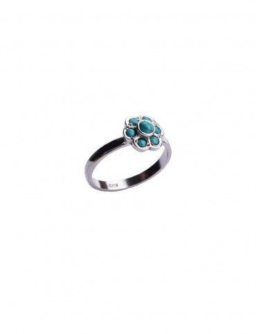 Sterling Silver Firoza Floral Ring