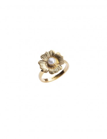 Sterling Silver Pearl Floral Ring