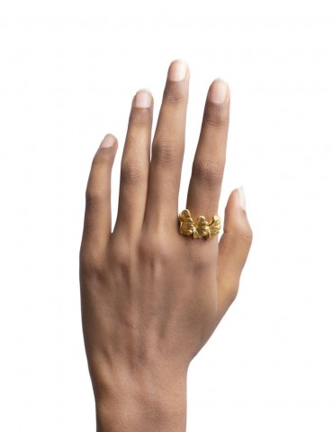 Sterling Silver Gingko Leaves Ring