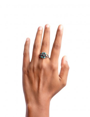 Sterling Silver Firoza Lapis Small Ring