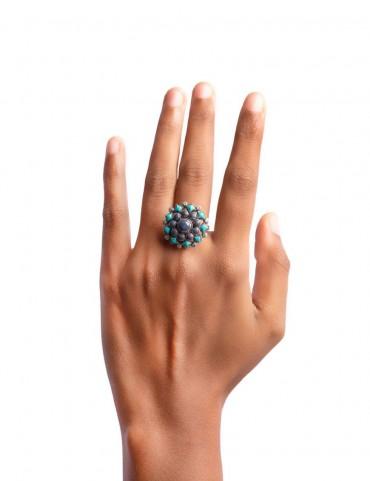 Sterling Silver Firoza Lapis Big Ring