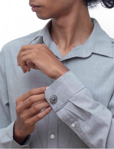 Sterling Silver Floral Repoussé Cufflinks