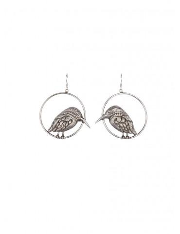 Sterling Silver Kingfisher Oxidised Earrings