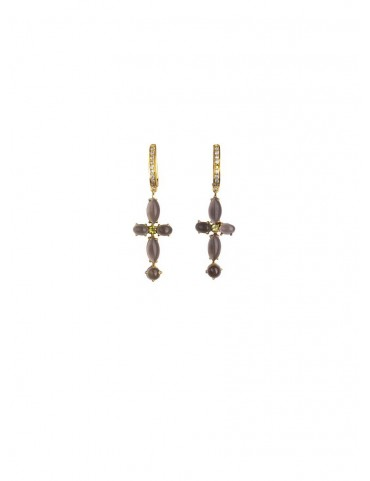 Sterling Silver Smoky Quartz & Peridot Earrings