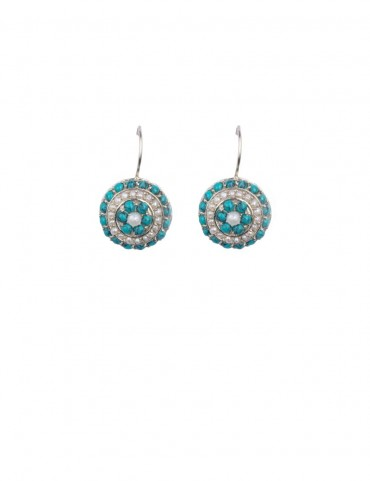 Sterling Silver Firoza and Freshwater Pearls Earrings