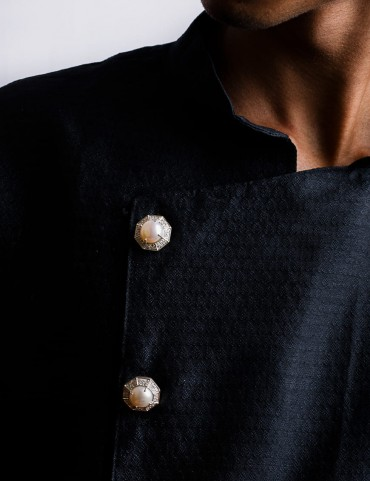 Sterling Silver Freshwater Pearl Sherwani Buttons