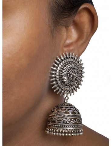 Sterling Silver Oxidised Tribal Earrings