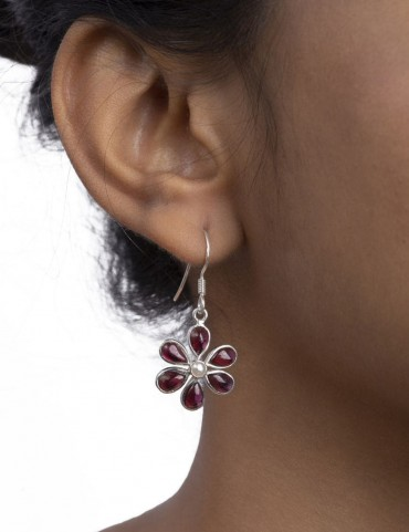 Sterling Silver Garnet and Freshwater Pearl Earrings