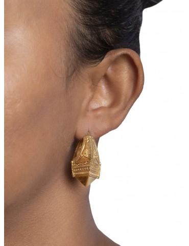 Sterling Silver Granulation Tribal Earrings