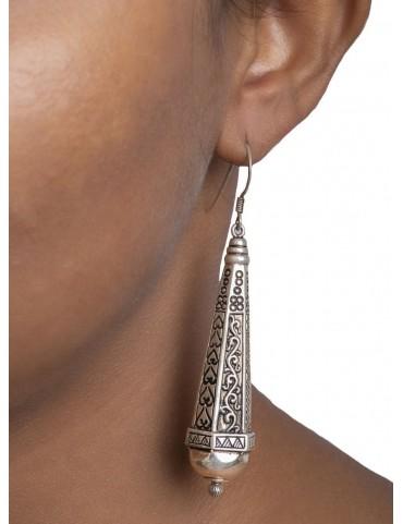Sterling Silver Elongated Tribal Earrings