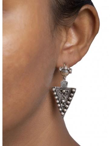 Sterling Silver Trikon Rawa Earrings