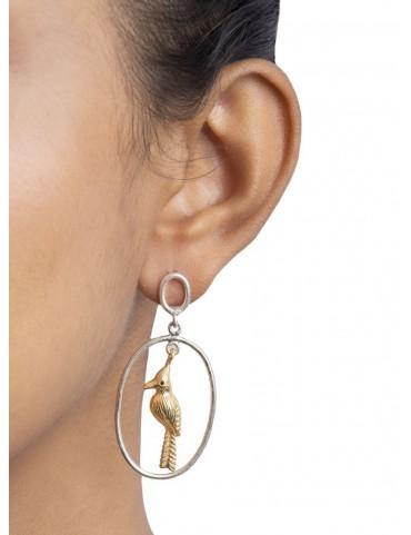 Sterling Silver Birds of Feather Earrings