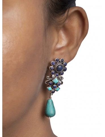 Sterling Silver Firoza and Turquoise Earrings
