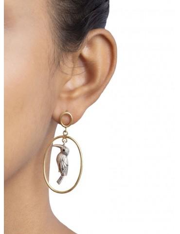 Sterling Silver Hoopoe Bird Earrings