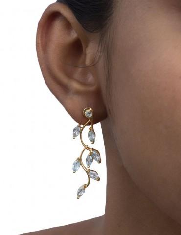 Sterling Silver London Blue topaz Leaf Earrings