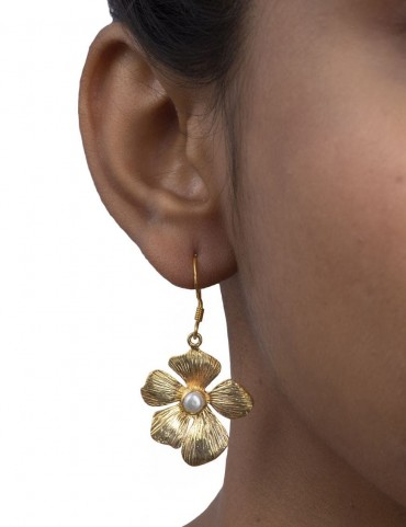 Sterling Silver Bohemian Rose Pearl Earrings