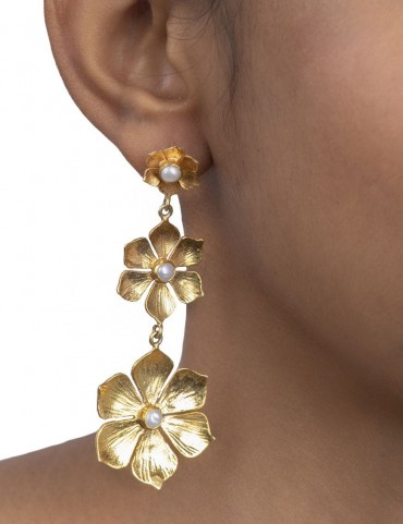 Sterling Silver Floral Freshwater Pearl Earrings