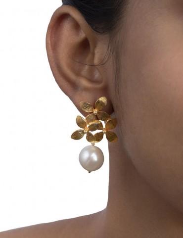 Sterling Silver Flower Cluster Earrings