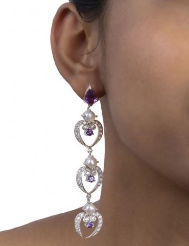Sterling Silver Pearls and Amethyst Earrings
