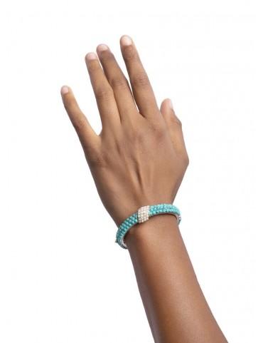 Sterling Silver Firoza & Freshwater Pearl Bangle Bracelet