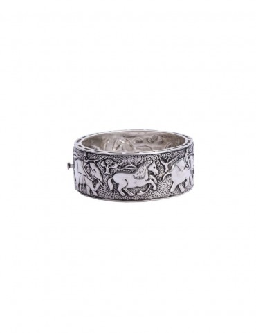 Sterling Silver Haathi Ghooda Bangle Bracelet