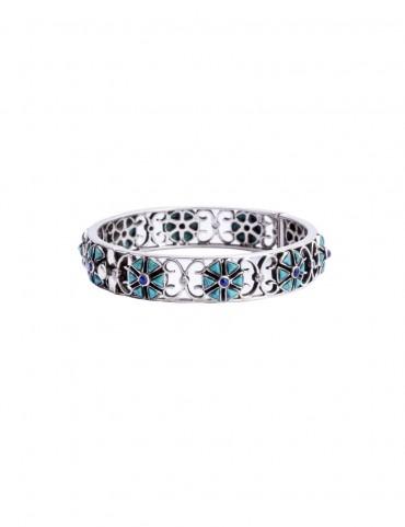Sterling Silver Firoza & Lapis Bangle Bracelet