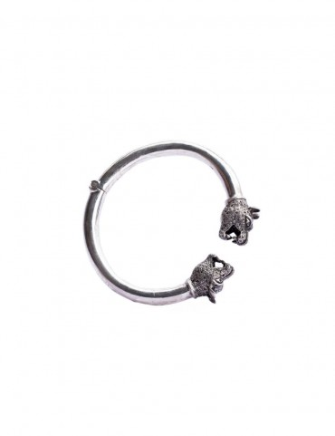Sterling Silver Panther Head Bangle
