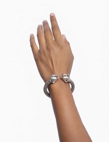 Sterling Silver Haathi Head Textured Bangle
