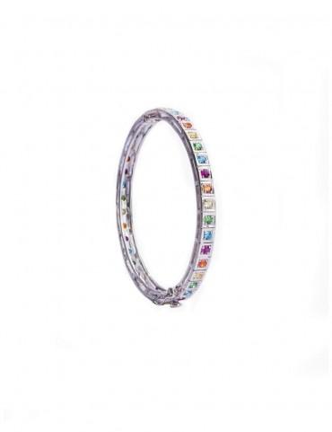 Sterling Silver Multicolour Symmetrical Bangle Bracelet