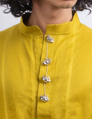 Sterling Silver Haathi Kurta Buttons