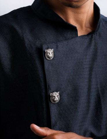 Sterling Silver Tiger Sherwani Buttons